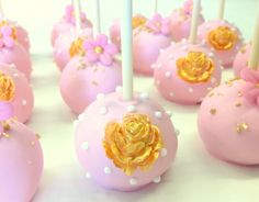 Pink and gold cake pops by Kreative Treasures