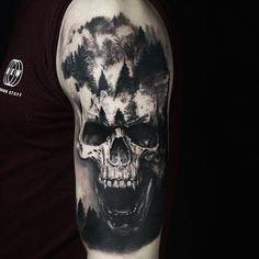 Skull Rose Tattoos, Evil Tattoos, Lion Head Tattoos, Skull Sleeve Tattoos, Nature Tattoo Sleeve, Best Sleeve Tattoos, Badass Tattoos, Body Art Tattoos, Arm Tattoos Forearm