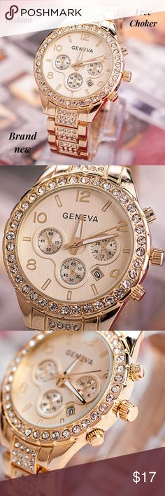 +free gift geneva gold watch stainles steel women Feature:  100% brand new and high quality.  Quantity: 1  Luxury, Casual,Life Waterproof  Gender: Women  Dial Display: Analog  Case Shape: Round  Case Material: Stainless Steel  Band Material:Alloy  Movemen