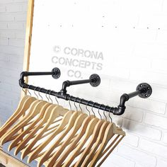Corona Concepts Company by CoronaConceptsCo Industrial Clothing Rack - Retail Display - Clothing Hanger Boutique Interior, Clothing Displays, Clothing Racks, Do It Yourself Furniture, Hanger Rack, Store Interiors, Pipe Furniture, Industrial Furniture, Furniture Design