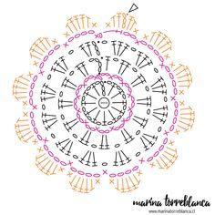 Patrón del posavasos a crochet Crochet Stars, Crochet Blocks, Crochet Flower Patterns, Crochet Round, Crochet Flowers, Crochet Diagram, Crochet Motif, Diy Crochet, Crochet Doilies