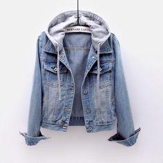 Denim Jacket With Hoodie, Girls Denim Jacket, Denim Coat, Denim Shorts, Men Cardigan, Bomber Jacket, Hooded Jean Jackets, Hooded Jacket, Denim Jackets