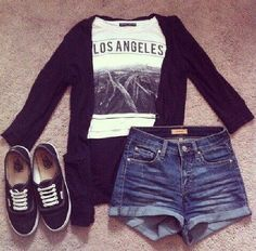 vans hipster outfit jeans hotpants los angeles, LA, california