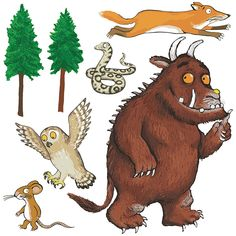 The Gruffalo Characters Group Self Adhesive Wall Sticker Set Decals Multi Size The Gruffalo, Gruffalo Party, Gruffalo Eyfs, Gruffalo Activities, Autumn Activities, Toddler Activities, Gruffalo Characters, Children's Book Characters, Ideas