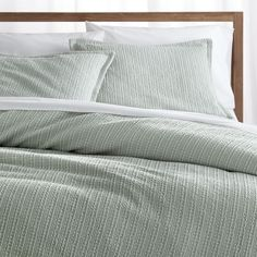 Shop Tessa Aqua Duvet Covers and Pillow Shams.  Light hues of aqua highlight the beautiful texture of Tessa's dimensional Jacquard weave.  Woven of spun cotton, the fabric is given an enzyme finish for ultimate softness.