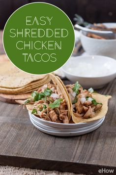 Easy shredded chicken tacos! Make this at home for Taco Tuesdays!  Recipe here: http://www.ehow.com/how_2291594_make-shredded-chicken-tacos.html?utm_source=pinterest.com&utm_medium=referral&utm_content=freestyle&utm_campaign=fanpage