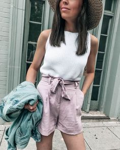 lavender high waisted linen shorts, spring outfit idea