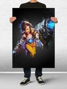 Tracer Overwatch Poster Art Print Watercolor Wall Decor Game Print Poster