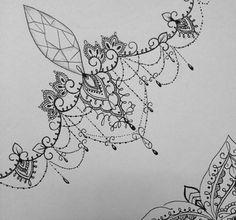 Lace Thigh Tattoos, Skull Rose Tattoos, Body Art Tattoos, Sternum Tattoo, Mandala Tattoo, Back Tattoo, Lace Tattoo Design, Tattoo Designs, Chandelier Tattoo