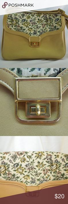 "AMBASSADOR Vintage Tapestry Bag Vinyl/Manmade Material Camel With Floral Tapestry Gold Tone Hardware Turn-Lock Front Closure 3 large separate compartments 1 sidewall pocket Key holders on both sides Vintage/New/Never Carried 9"" H X 12"" L X 2"" D X 10"" Strap drop PLEASE NOTE: Gold hardware needs touched up. Some areas are dull/rough, due to storage/age Ambassador Bags Shoulder Bags"