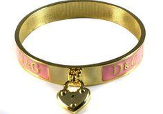 D Pink Love Heart Logo Bangle