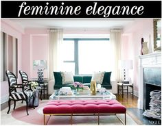 This space is very feminine but I dig it. The colors and fabrics are lovely together, and the room is actually quite versatile. An entirely new feeling would be easy to achieve with a different wall color. The Decorista
