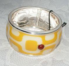 Francesca Romana Diana BRACELET yellow white enamel Mod wide bangle original tag