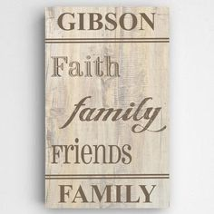 Personalized Family and Faith Rustic Canvas Sign- Our Rustic Wood Family and Faith canvas comes with the famous words Faith, Family and Friends. Perfect for your home decor. MEASUREMENTS: 14 x 24 PERSONALIZATION: 1 line up to 15 characters. Personalized Family Gifts, Personalised Canvas, Personalized Wall Art, Friend Canvas, Canvas Signs, Custom Canvas, Shop Signs, Wall Signs, Gifts For Family