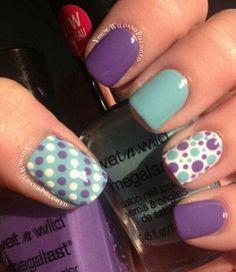 Mint and Purple Polka Dot Nails. (via forcreativejuice.com)