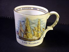 USS CONSTITUTION MUG by AYNSLEY Limited Edition Shreve Crump Low Co Boston 1630- #aynsley