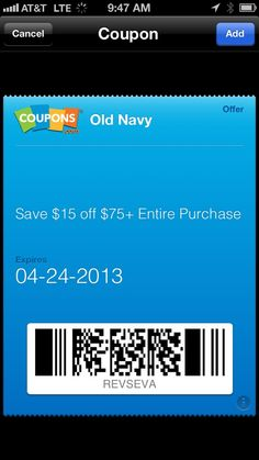 Coupons integrated into Passbook