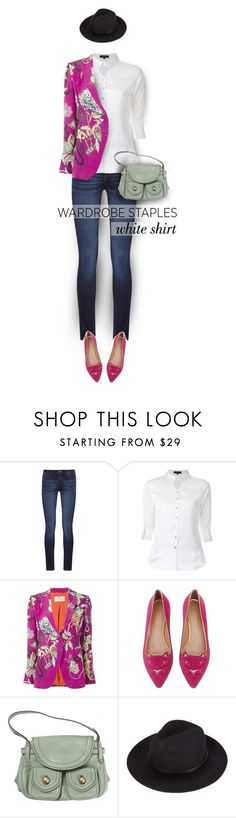 """Wardrobe Staples: The White Shirt"" by polly301 ❤ liked on Polyvore featuring DL1961 Premium Denim, Loveless, Etro, Charlotte Olympia, Marc Jacobs, WardrobeStaples and invisibledolls"