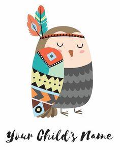 Tribal Animals, Cute Animals, Kids Prints, Art Prints, Art Mignon, Owl Art, Simple Art, Cute Illustration, Woodland Animals