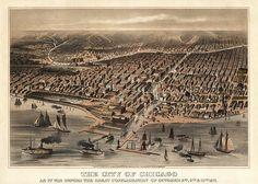 Antique bird's eye view of Chicago, c1872