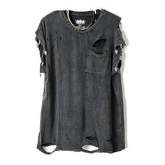 Punk Style Ripped T-Shirts With Skeleton Embellishment ($24) ❤ liked on Polyvore featuring tops, t-shirts, shirts, tees, pattern t shirt, tee-shirt, destroyed t shirt, print t shirts and distressed t shirt