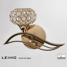 Diyas Leimo French Golf Finish Left Facing Single Wall Light - W. Diyas Lighting, Lamp Switch, 1920s House, Crystal Wall, Miller Sandal, Wall Lights, It Is Finished, French, Crystals