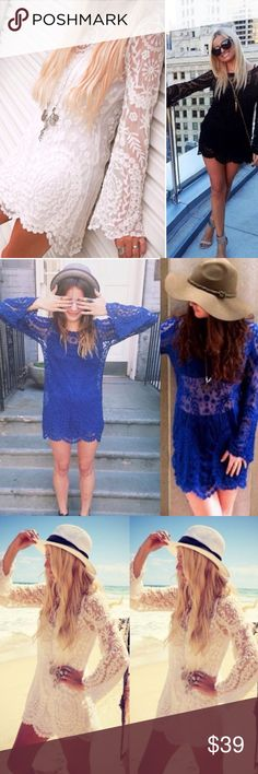 ❣NEW❣ Sheer Crochet Lace Long Tunic Mini Dress Simply gorgeous! Brand new embroidered dress and available in 3 colors. It's a one size fit which fits best sizes 2-8. It is sheer so needs a tank top or a slip of wearing as a dress. This is a boutique sample so there are no tags at all inside. Available in cream, blue, and black. Limited quantities, grab before it's gone! Dresses Mini