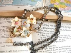 PERCHED assemblage necklace rhinestone bird ooak by lilyofthevally