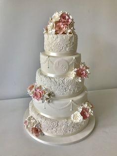Fancy Wedding Cakes, Luxury Wedding Cake, Amazing Wedding Cakes, Wedding Cakes With Cupcakes, Wedding Cake Decorations, Wedding Cake Designs, Wedding Cake Toppers, Rustic Wedding, Wedding Cake Vintage