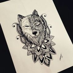 Tattoos, wolf tattoos, tattoo designs, inspired tattoos, Taurus tattoos sleeves - My work by Franz Tattoo - # idéesdetatouage Wolf Tattoo Design, Tribal Wolf Tattoo, Tattoo Designs, Mandala Tattoo Design, Animal Mandala Tattoo, Tattoo Wolf, Wolf Tattoos For Women, Unique Tattoos For Women, Sleeve Tattoos For Women