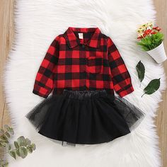 Check out this great stuff I just found at PatPat! : Baby / Toddler Girl Christmas Elk Plaid Letter Print Long-sleeve Top and Solid Tulle Skirt Set Toddler Girl Christmas Outfits, Cute Christmas Outfits, Toddler Girl Outfits, Baby Outfits Newborn, Kids Outfits, Christmas Clothes, Jumpsuits For Girls, Red And Black Plaid, Matching Family Outfits
