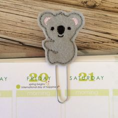 Koala Bookmark Planner Clip Animal Bookmark by createdbydanielle1