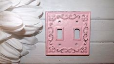 Double Light Switch Plate/ Cottage Chic / Girls room /Nursery/ Cast Iron/ Cottage Pink / Shabby Chic Decor