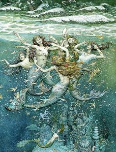Let's take a look at illustrations of the mermaid and her sisters from The Little Mermaid by Hans Christian Andersen.