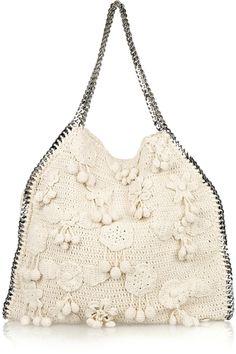 Stella McCartney - Falabella Large crocheted shoulder bag | Net-A-Porter #crochetbag #crochetinspiration