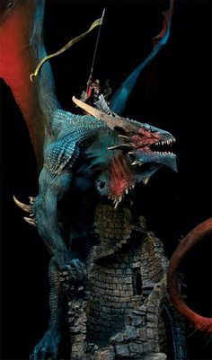 this is Cang the Implacable, the most fearsome dragon to fly the skies. Measuring at almost 2 feet from base to wing tip and snout to tail barb, this enormous and majestic figure took Pedro Fernandez 3 months of continuous work to realize.: