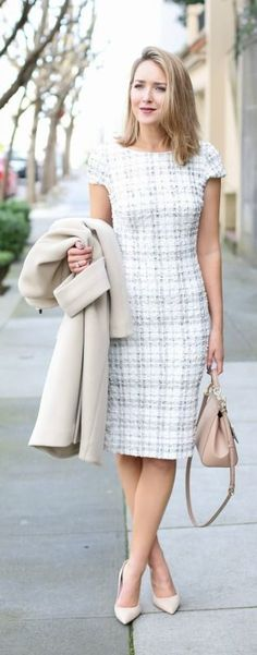 ivory plaid sheath dress, nude wool coat, nude suede pointed toe pumps + nude handbag {dress the population, topshop, kate spade new york, dolce&gabbana}