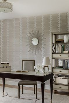 Striped Wallpaper, Fabric Wallpaper, Celerie Kemble, Acanthus, Schumacher, Ikat, Foyer