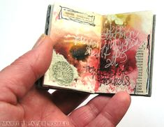 Spread in a tiny art journal book, by Marit #tinyartbooks