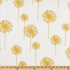 Premier Prints Dandelion Slub White/Yellow from @fabricdotcom  Screen printed on cotton slub duck (slub cloth has a linen appearance); this versatile medium weight fabric is perfect for window accents (draperies, valances, curtains and swags), accent pillows, duvet covers, upholstery and other home decor accents. Create handbags, tote bags, aprons and more. *Use cold water and mild detergent (Woolite). Drying is NOT recommended