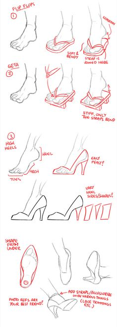 How to draw shoes (flip flops, geta, and high heels) by JY/circus-usagi (How to draw feet +shoes) on World Manga Academy