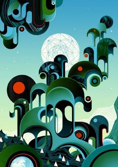 This morning we take a look at the Brighton-based artist and illustrator Sam Chivers. Sam is drawn towards a sort of unconscious surrealism, fusing gr. Landscape Illustration, Digital Illustration, Museum Of Childhood, Magazine Illustration, Gcse Art, Pop Surrealism, Retro Futurism, Great Artists, Illustrations Posters