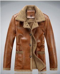 men's winter coat leather fur lining fleece jacket parka trench coat Europe NEW Mens Winter Coat, Modern Gentleman, Men's Coats And Jackets, Warm Coat, Parka, Slim, Mens Fashion, Trench, Wool