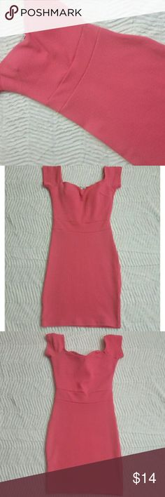 Coral Charlotte Russe Cap Sleeve Dress Very pretty coral cap sleeve dress featuring a tailored, banded waist and slightly raised print throughout. Polyester/Spandex blend makes for a stretchy, snug bodycon fit. In excellent condition, only worn once. Charlotte Russe Dresses