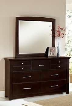 Catalina lll Dresser & Mirror  $849.99 Sku:135377 Dimensions:62Wx19Dx76.5H The Catalina is a casual contemporary collection, the merlot color gives a relaxing feel, and with a complementing upholstered headboard you'll have the perfect, cozy oasis. The Catalina is very aesthetically appealing, but the beautiful collection is one that will last you for years to come, made of solid oak, and has been lightly distressed to add to the beauty. Please visit our website for warranty and benefits.