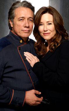 Admiral Bill Adama and President Laura Roslin from Battlestar Galactica  -- Grown-ups in love