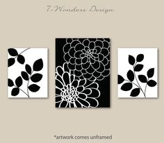 Artículos similares a Flower Mums and Leaves Art Prints, Floral Abstract Artwork, Prints Set and OR and 11 x 14 // Black White // Unframed en Etsy Canvas Painting Tutorials, Diy Canvas Art, Black And White Art Drawing, Penguin Art, Simple Acrylic Paintings, Leaf Art, Wall Sculptures, Metal Wall Art, Flower Art