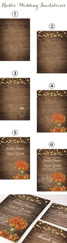 rustic fall wedding invitations inspired by mason jars and string lights backyard wedding ideas