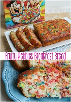 Fruity Pebbles Breakfast Bread [AD] Have breakfast anytime with this delicious Fruity Pebbles Breakfast Bread – it's oh-so-good! Swap out the Fruity Pebbles for other Post cereals. Breakfast For Kids, Breakfast Recipes, School Breakfast, Quick Breakfast Ideas, Birthday Breakfast, Köstliche Desserts, Dessert Recipes, Cereal Recipes, Churros