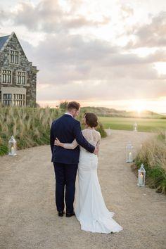 Couple By Sunset At Trump,Doonbeg Golf Wedding, Irish Wedding, Newlyweds, Resorts, Couple Goals, Weddings, Sunset, Gallery, Wedding Dresses